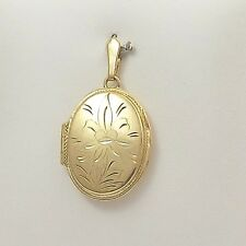 10K YELLOW GOLD LARGE HAND ETCHED OVAL PHOTO LOCKET  PENDANT 7gr