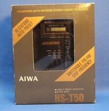 MINT - AIWA HS-T50 PORTABLE AUTO REVERSE STEREO CASSETTE PLAYER W/HP-M16 PHONES