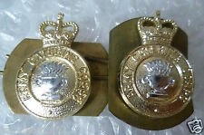 Staybrite - Royal Army Catering Corps Collar/Cap Badge PAIR Queen Crown-Anodised