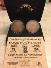 Mark McGwire Roger Maris Highland Mint Solid Bronze Home Run Heros 2 Coin Set