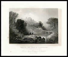 Vale Llangollen Crow Castle Wales Painting by Marshall 1860 art engraved print