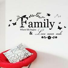 """Fashion English Latter """"Family"""" Pattern Home Decals Removable Art Wall Sticker"""