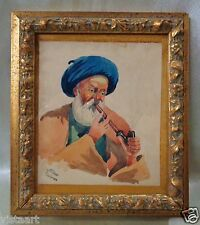 Signed 1950's Persian Watercolor Painting w/ Gold Antique Style Frame 7.5x8.5""
