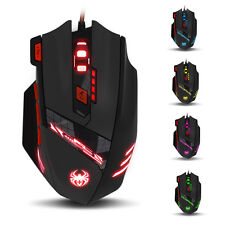 Zelotes 5500/8000 DPI High Precision 8 Button Mice LED Optical USB Wire PC Mouse