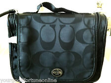 NEW Coach Travel Black Toiletries Cosmetic Makeup Getaway Nylon Kit Bag  F 77310