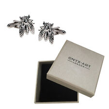Mens Silver Fly Cufflinks & Gift Box - Big Insect Animal By Onyx Art