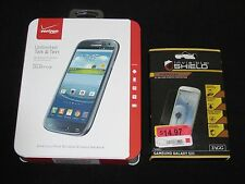 New Sealed Verizon Prepaid Samsung Galaxy S3 16GB Blue Smartphone+ZAGG Protector