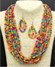LIME GREEN PEACH MINT YELLOW MAGENTA LARGE SEED BEAD NECKLACE SET SILVER CHOKER