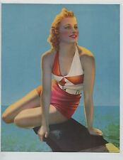 Vintage 1930s-40's Print Pretty Red Haired Girl Beach Beauty Pin Up Fun Swimsuit
