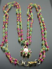 VINTAGE RUBY & EMERALD PEARL PENDANT NECKLACE 18 inch