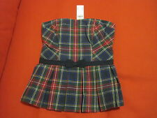 Abercrombie & Fitch Strapless Top Sz M Smocked Red Green Plaid Bow  Pleated  New