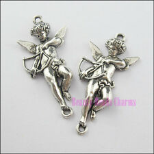 8Pcs Tibetan Silver Angel Cupid With Wings Charms Pendants 21.5x45mm