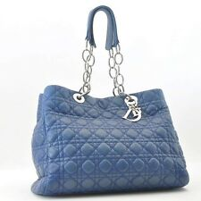Authentic  Christian Dior Lamb Skin Lady Dior Tote Hand Bag Blue #S4660