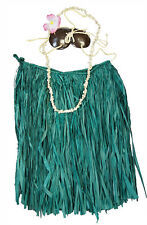 Hawaiian Hula Grass Skirt Set Real Raffia Coconut Bra Lei Hair Flower Child Gr N