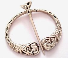 VINTAGE SOLID SILVER CELTIC  PENANNULAR KILT CLOAK PIN BROOCH PLAID