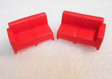 Vintage  Dollhouse Furniture Sectional Sofa 2 piece Red