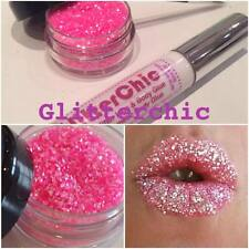 Glitter Lips Hot Shock Pink Lipstick loose glitter by GlitterChic, Extra Glam