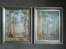 Pair of Woodland Oil on Board Paintings, G.H.Ronk Australian Artist, VGC