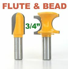 "2 pc 1/2"" SH 3/4"" Diameter Flute and Bead Match Joint Router Bit Set sct-888"