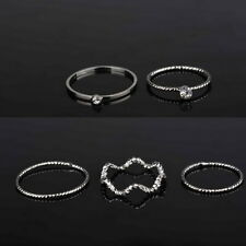 5pcs Urban Elegant Above Knuckle Band Plain Mid Finger Midi Ring Set Jewelry
