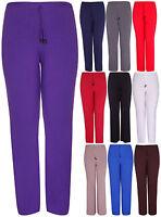 Womens New Plain Wide Leg Stretch Ladies Baggy Palazzo Trousers Pants Plus Size