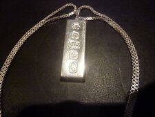 Sterling Silver Ingot Pendant and Box chain total weight 42grams