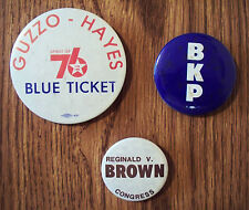 LOT OF 3 VTG ILLINOIS POLITICAL CAMPAIGN BUTTONS -1970-80s BROWN GUZZO HAYES BKP