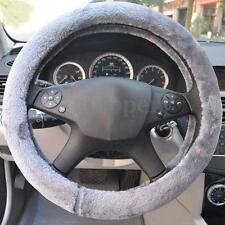 Grey Winter Warmer Soft Imitation Wool Short Plush Car Steering Wheel Wrap Cover