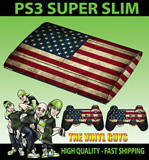 PLAYSTATION PS3 SUPER SLIM USA AMERICAN FLAG GRUNGE SKIN STICKER & 2 PAD SKINS