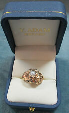 10K & 12K Solid Gold Black Hills Ring With 6mm Pearl Size 7 1/4 Set In Flowers