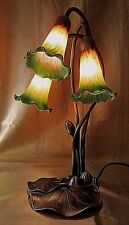 ART NOUVEAU ANTIQUED BRASS GOOSE NECK TABLE LAMP w/Amber and Green Lily Shades