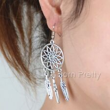 1Pair Alloy Silver Dream Catcher Pendant Dangle Earrings Ear Studs Jewelry
