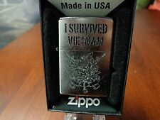 I SURVIVED VIETNAM  SKULL SOLDIER STREET CHROME ZIPPO LIGHTER MINT IN BOX