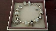 Authentic Pandora Sterling Silver Charm Bracelet with European Charms Beads 7.8""