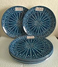 Nicole Miller Set Of 6 Dinner Plates Peacock Blue Batik Design Melamine