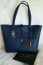 $198 NWT VINCE CAMUTO NAVY BLUE LARGE LEILA LEATHER TOTE HANDBAG