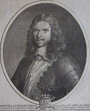 HENRY DE LA TOUR D'AUVERGNE, VICOMTE DE TURENNE. Portrait.Gravure originale 1653