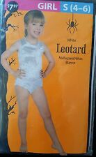 NIP One Piece Leotard Bodysuit Girls Size WHITE Medium 8-10 Halloween Dress Up