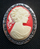 Vintage Lady Cameo Brooch Antiqued Silver Tone Setting