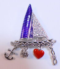 Patriotic Sailboat Charms Red White & Blue Rhinestone Bling Pin Brooch Broach