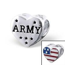925 Sterling Silver Army USA Flag America Bracelet Charm Bead Gift Boxed B239