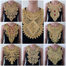 Gold Embroidered Sequin Design Braided Collar Neck Applique Lace 11 Designs