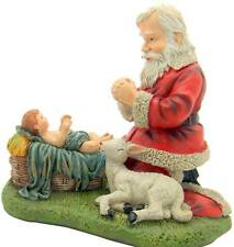 "MRT Adoring Santa Claus Figurine w Baby Jesus Christmas Statue Gift 6""H Resin"