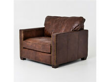 "40"" W Club Chair Top Grain Distressed Leather Vintage Cigar Brown Brass Rivets"