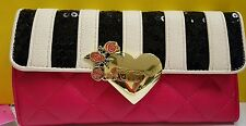 NWT BETSEY JOHNSON Flap over black & white stripe w/ gold heart clutch wallet