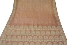 Indian Jahrgang Handwerk Saree Rein Seide Gewebe Antiken Wrap Decor Braun Sari