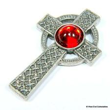 Celtic Cross Pin Brooch Badge - Red Scottish / Irish Gaelic Cross UK Handmade