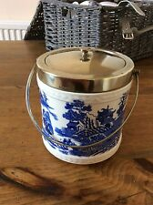 antique Willow Pattern and silver biscuit barrel