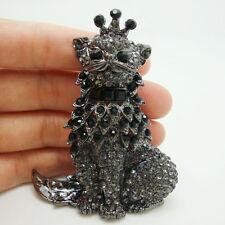 Vintage Style Domineering Cat King Black Crystal Rhinestone Pendant Brooch Pin