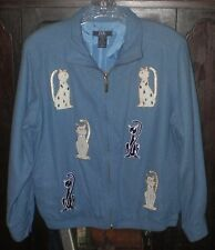 EVR Ladies Coat Jacket~Size PS Petite Small~100% Silk~Blue Cat Kitties Metallic